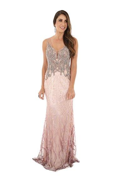 dff553603 Vestido de Festa Rose Degradê Pedrarias em 2019 | Vestidos de Festa ...