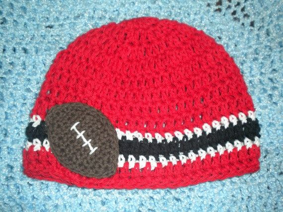 9b45ce55c72 Crocheted Cotton Hat Inspired By University of Nebraska Huskers Football  Colors - Great Photo Prop.  17.99