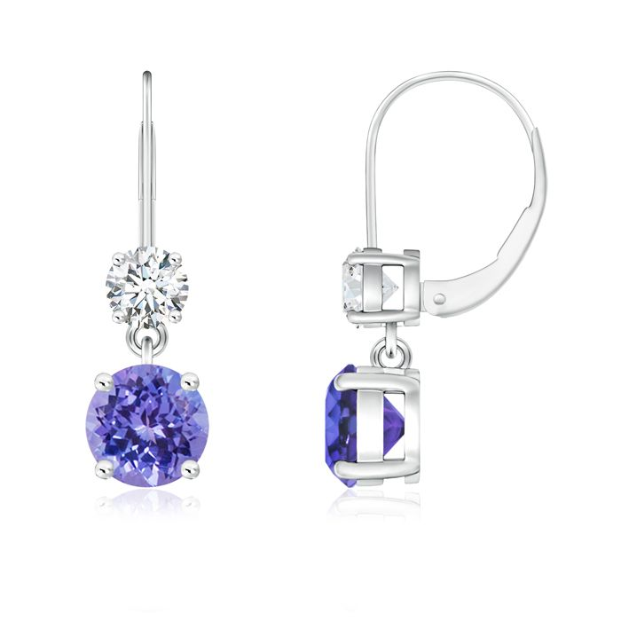 Angara Dangling Tanzanite and Diamond Halo Earrings in White Gold z8oWZEkh8