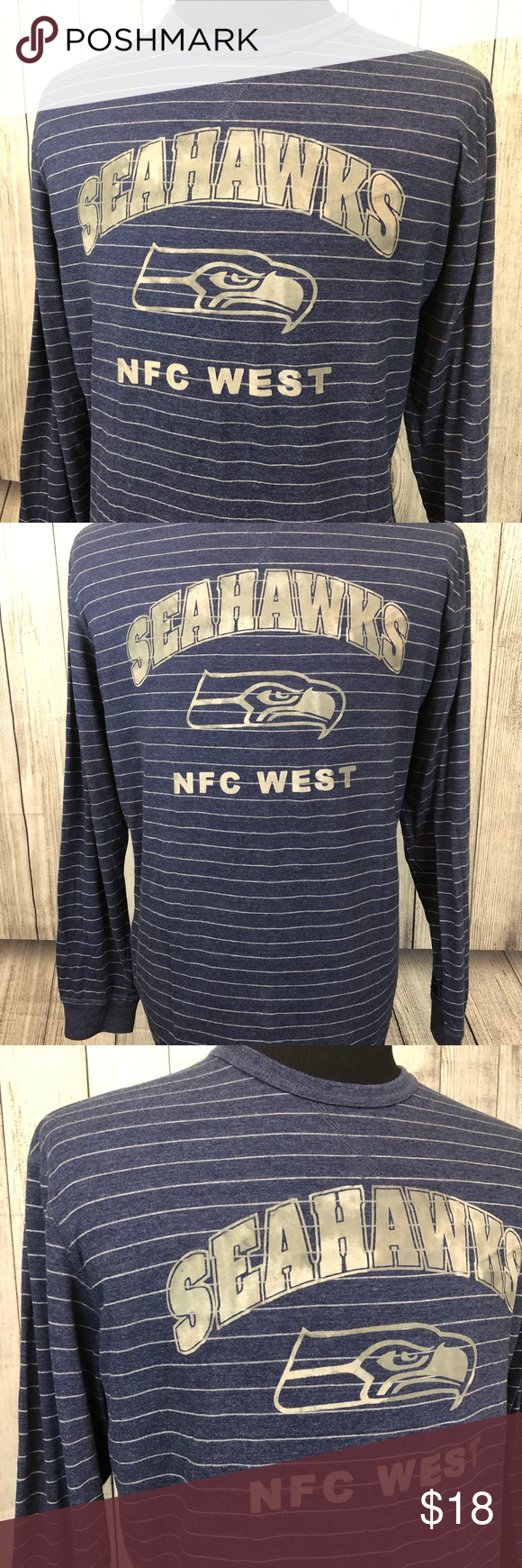 12cf3238 NFL SEATTLE SEAHAWKS XL Blue Striped T-Shirt Inventory #: C496 -NFL ...