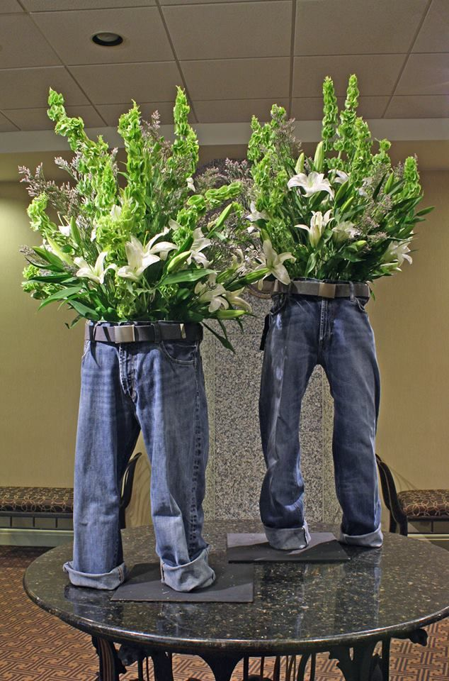 Plants in my pants so doing this with their baby for Denim centerpieces