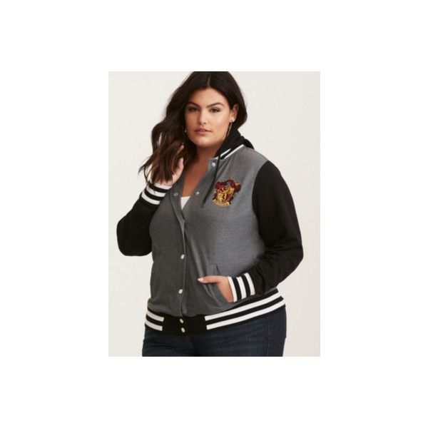 35eb04899a7df Torrid Harry Potter Gryffindor Hooded Varsity Jacket ( 49) ❤ liked on Polyvore  featuring outerwear