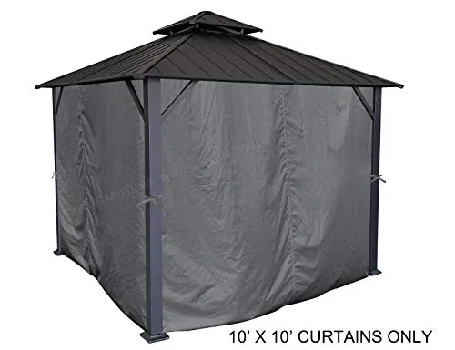 Apex Garden Universal Privacy Curtain Set For 10 X 10 Gazebo 10 Ft X 10 Ft Charcoal 2020