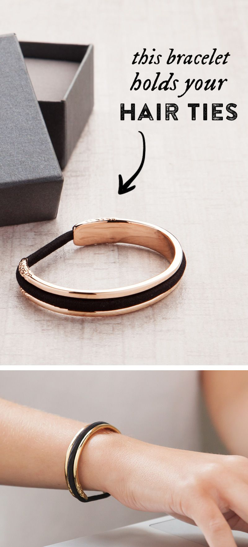 OMG....I need this. I wear about 5 hair ties on my wrist every day...