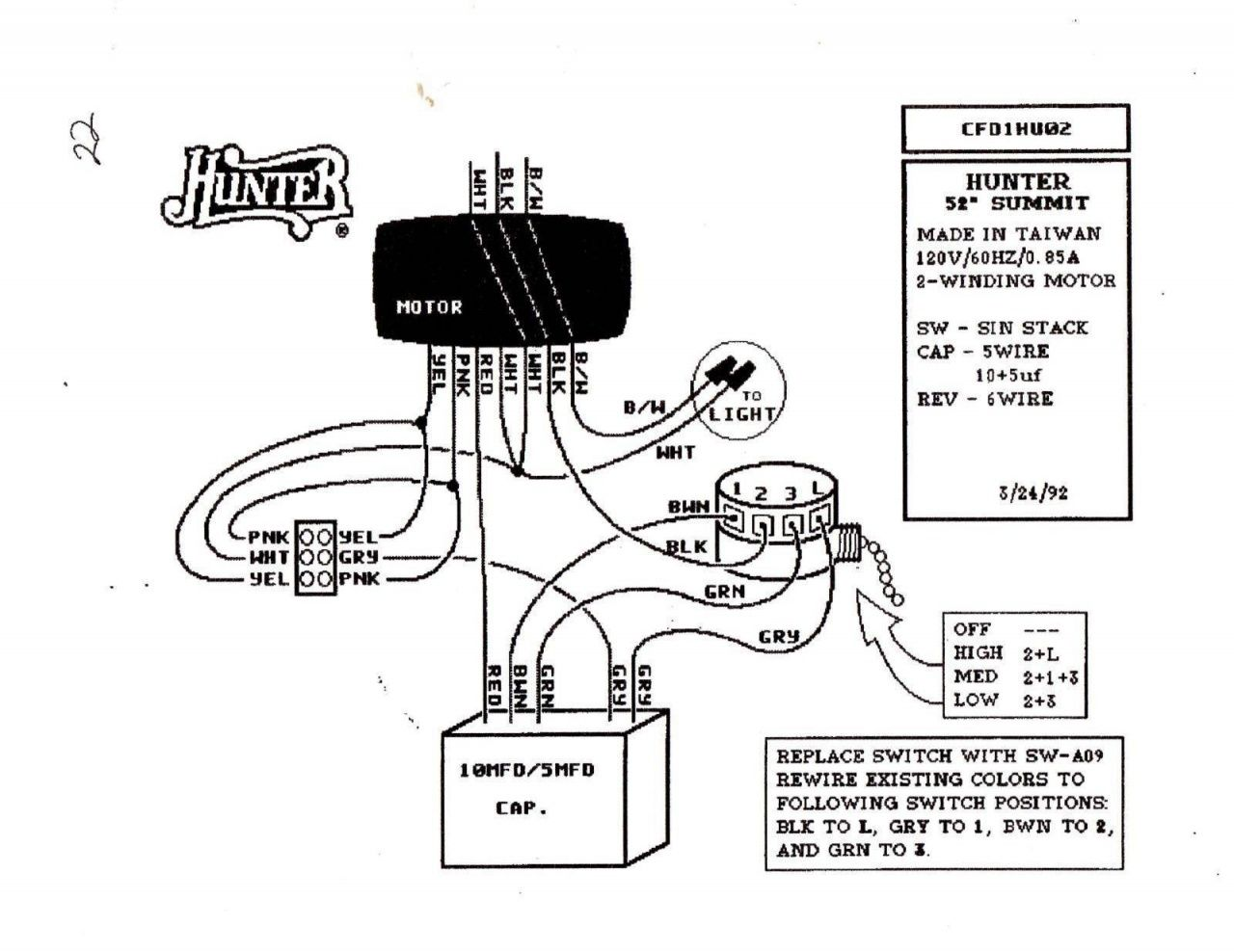 Hunter Ceiling Fan Switch Wiring Diagram In
