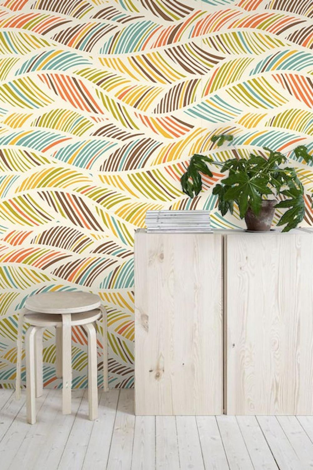 Abstract Removable Wallpaper Colorful Blue And Orange Wall Etsy Removable Wallpaper How To Install Wallpaper Orange Walls