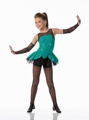 460cadc96 A GIRL CAN ROCK Biketard w/Mitts Tap Dance Costume Child Small & 6x7  Clearance