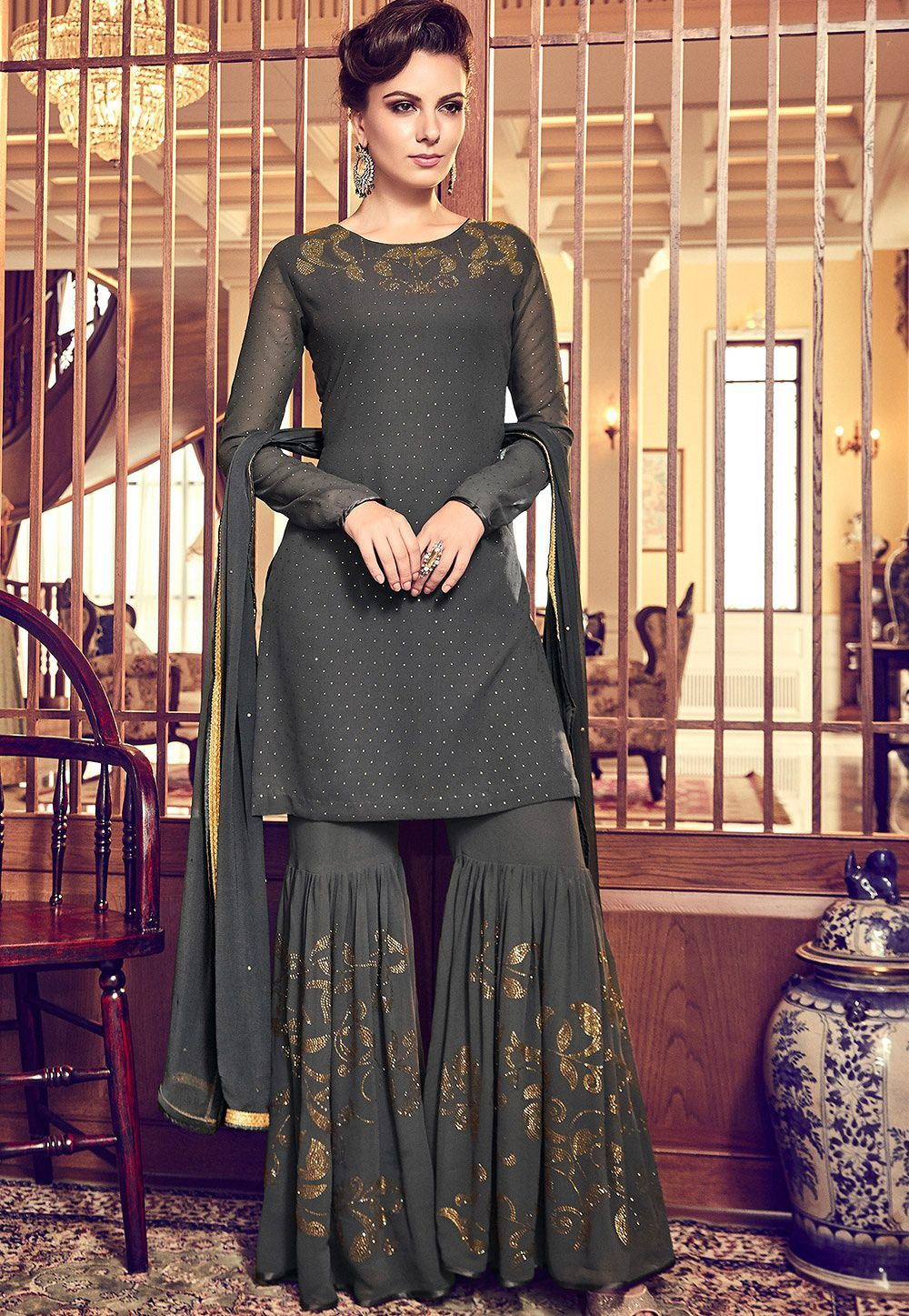dark grey georgette designer sharara pakistani suit 6011 #shararadesigns