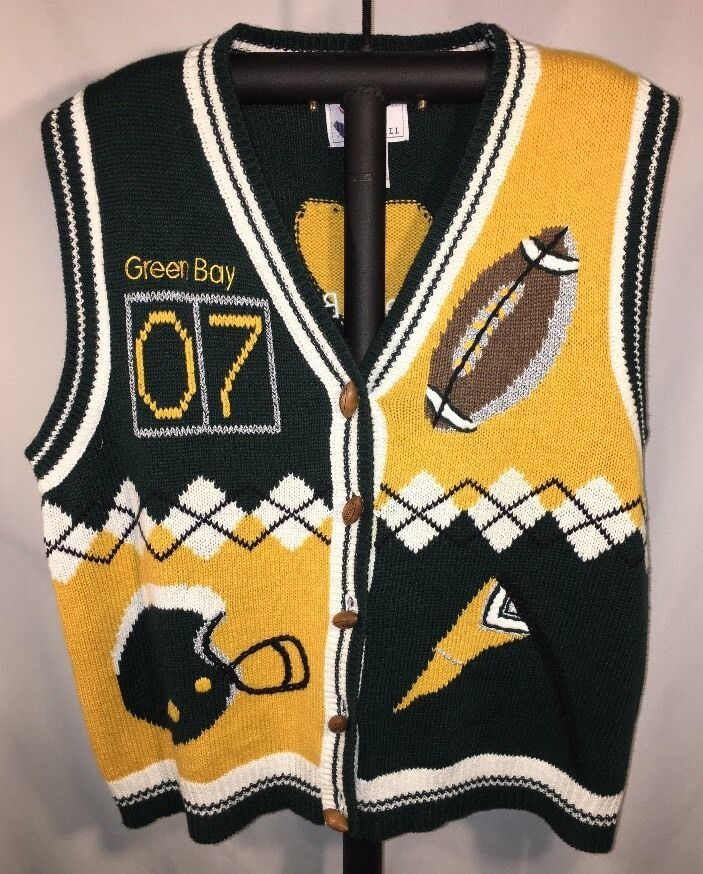 f368bf98 Details about Christopher & Banks Football Green Bay Packers Sweater ...