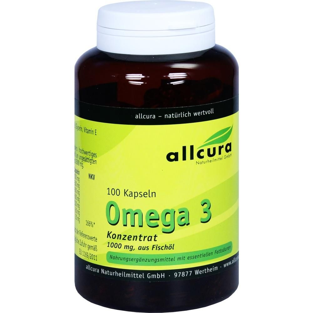 OMEGA 3 Konzentrat aus Fischöl 1000 mg Kapseln:   Packungsinhalt: 100 St Kapseln PZN: 09513712 Hersteller: allcura Naturheilmittel GmbH…