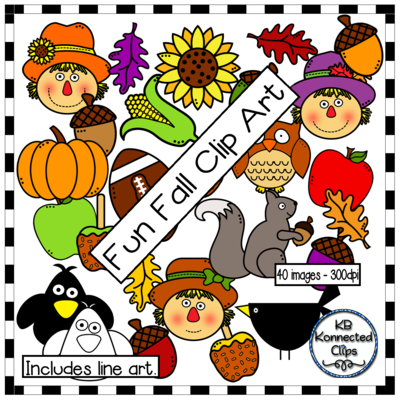 Fun Fall Clip Art from KB Konnected Clips on TeachersNotebook.com (40 pages)