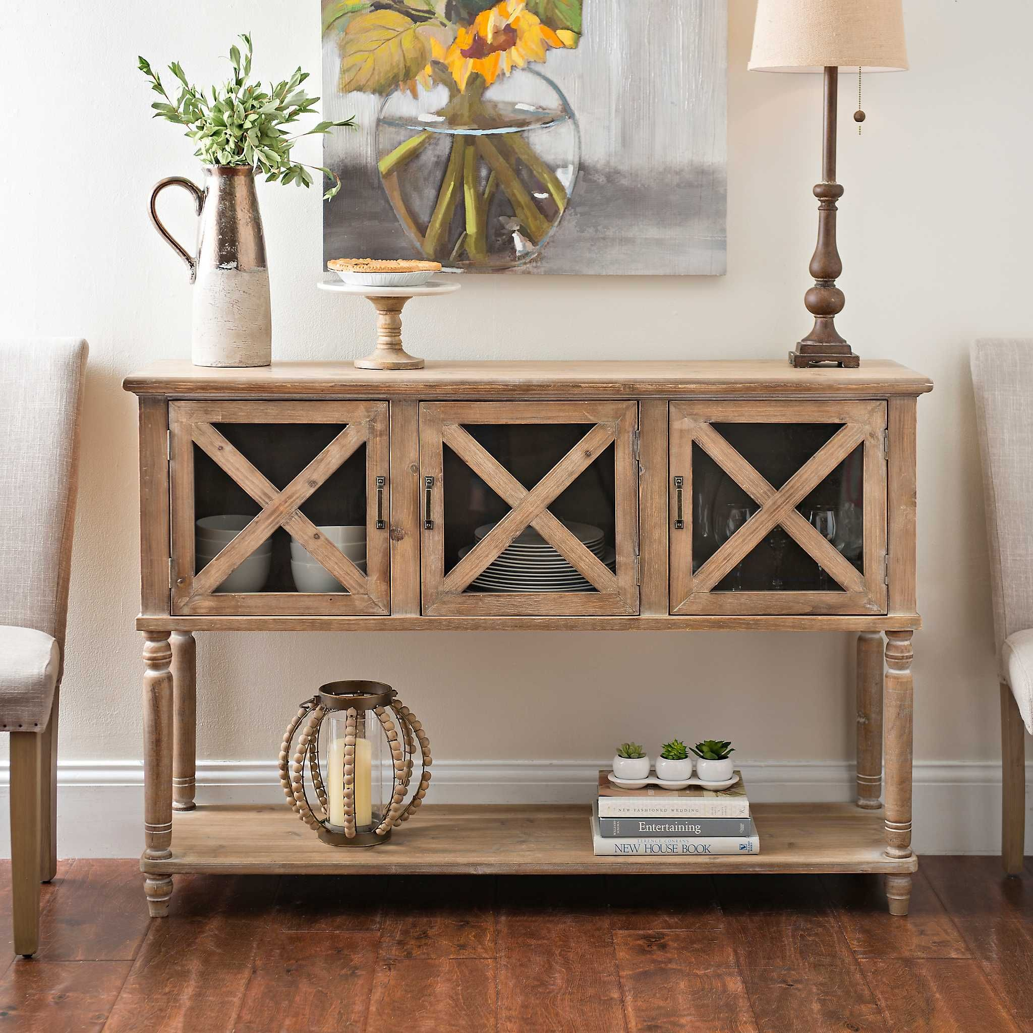 Wood And Glass Barn Door Console Table Farmhouse Console Table