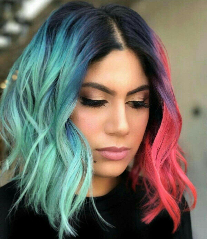 Pinterest IIIannaIII Two color hair, Vivid hair color