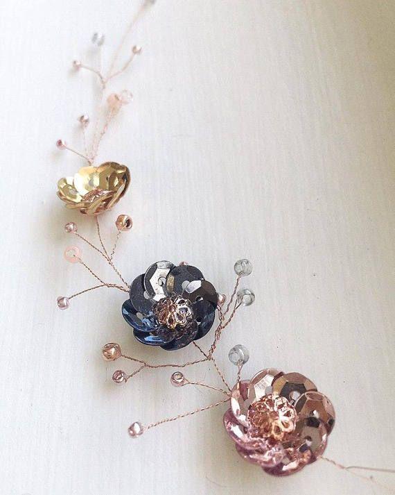 Rose Gold Sequin Metallic Flower Choker Necklace Dainty Choker