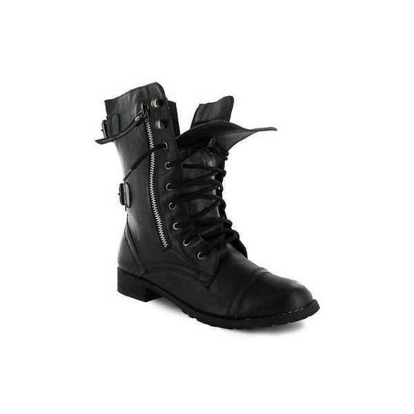 WOMENS FLAT BLACK LACE-UP MILITARY ARMY COMBAT CALF ANLKE BOOTS SHOES UK 3-8
