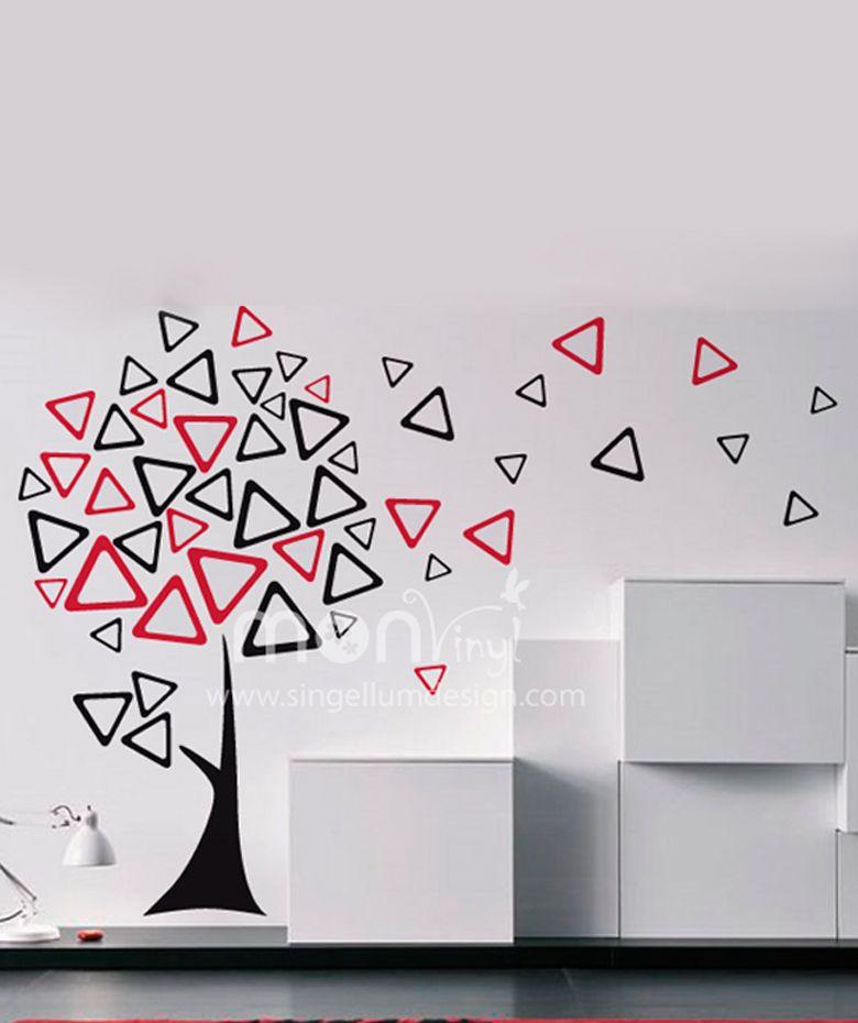 Rbol triangular vinilo adhesivo decoraci n de paredes for Diseno vinilos