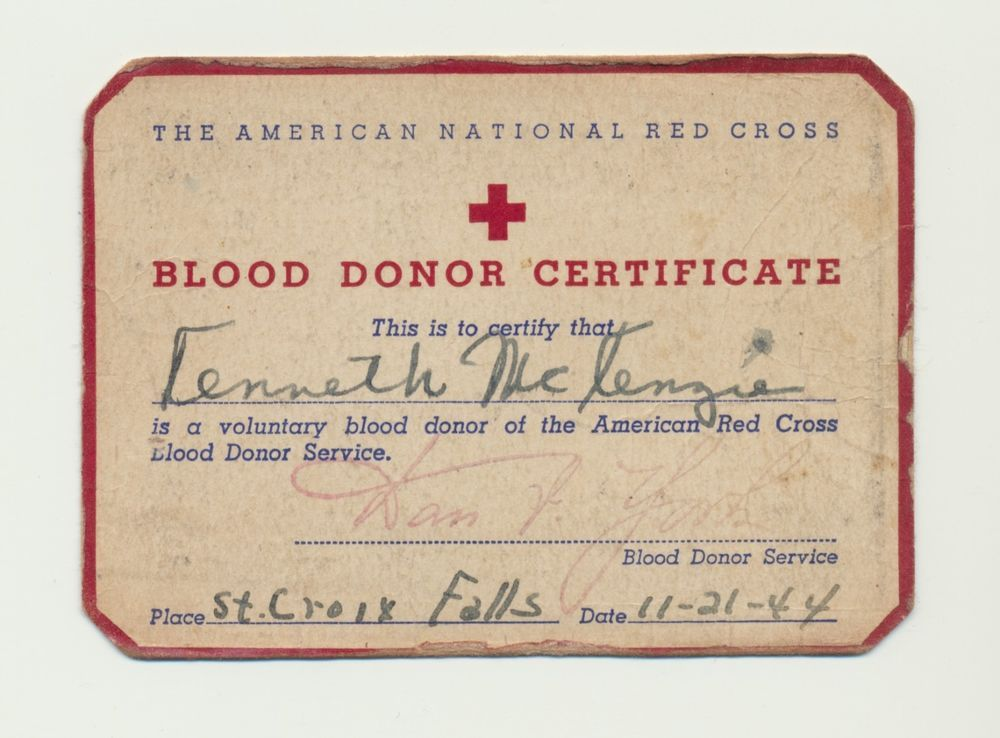 vintage wwii era 1944 american red cross blood donor certificate