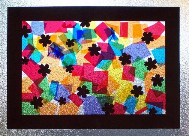 Vidrieras con papel de colores celofán   Niños arte, Arte vitral ...
