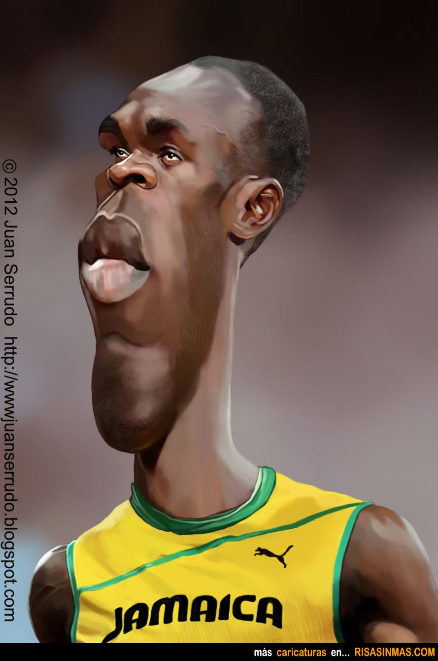 Caricatura de Usain bolt. FOLLOW THIS BOARD FOR GREAT CARICATURES OR ANY OF OUR OTHER CARICATURE BOARDS. WE HAVE A FEW SEPERATED BY THINGS LIKE ACTORS, MUSICIANS, POLITICS. SPORTS AND MORE...CHECK 'EM OUT!! Anthony Contorno Sr