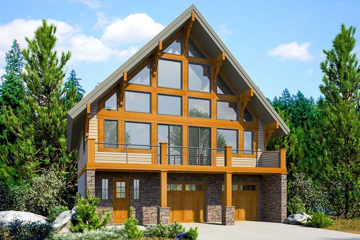 Plan 23768jd Modern Chalet For The Front View Lot In 2021 Mountain Home Exterior Mountain House Plans Lake House Plans