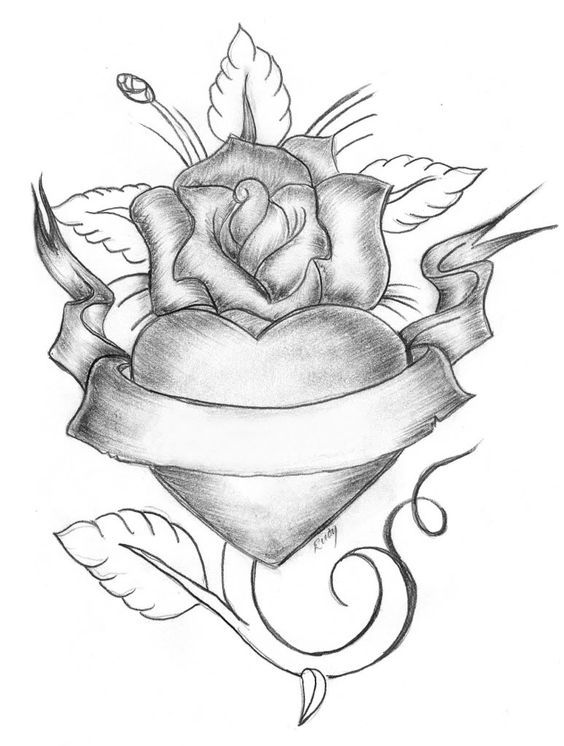 Free printable Rose and Heart coloring pages