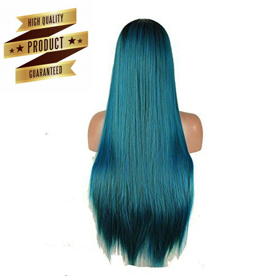 Ladies Cosplay Wigs Fancy Dress Long Wigs Parties Two Tone Blue Black
