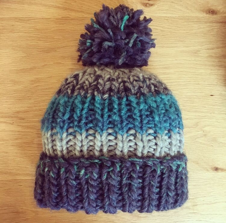 Ribbed Barts style adult bobble hat / beanie in blue ...