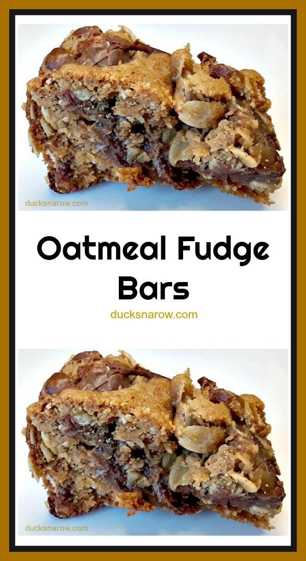 Fudgy Oatmeal Chocolate Bars Oatmeal fudge bars are so easy to make and are a chocolate lover's DREAM come true!