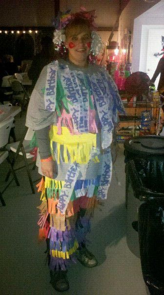 construction paper $6.00,hot glue $4.00, ribbons $.99..Being able to hit people with candy when they wack you....PRICELESS!!!