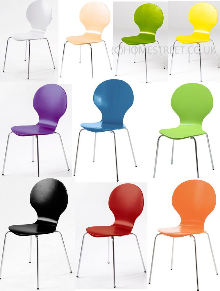 Stackable Dining / Office Chairs   Many Colours Chrome Legs Marcus Wood NEW