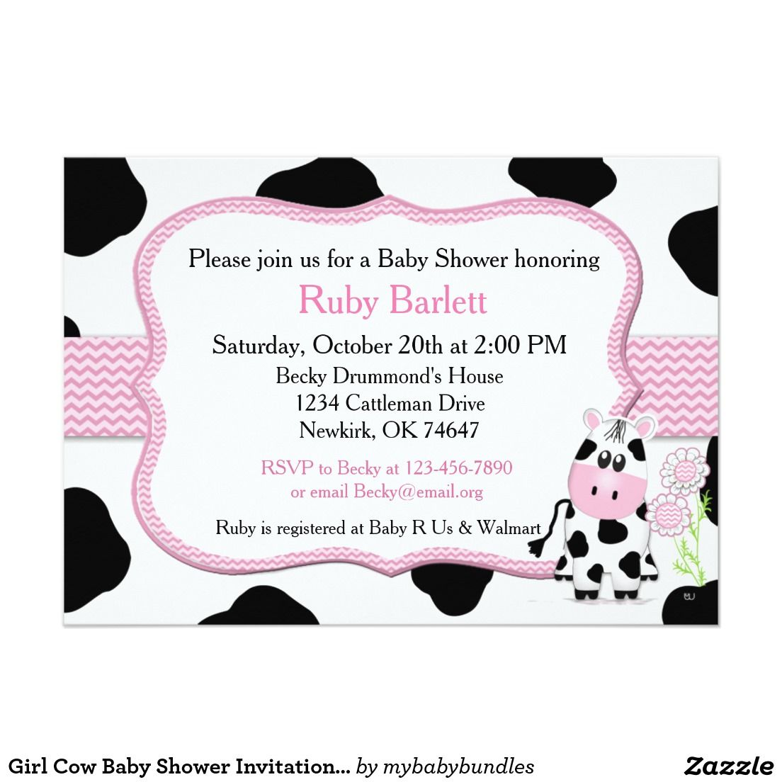 Girl Cow Baby Shower Invitation with Chevron Print | Cow baby ...