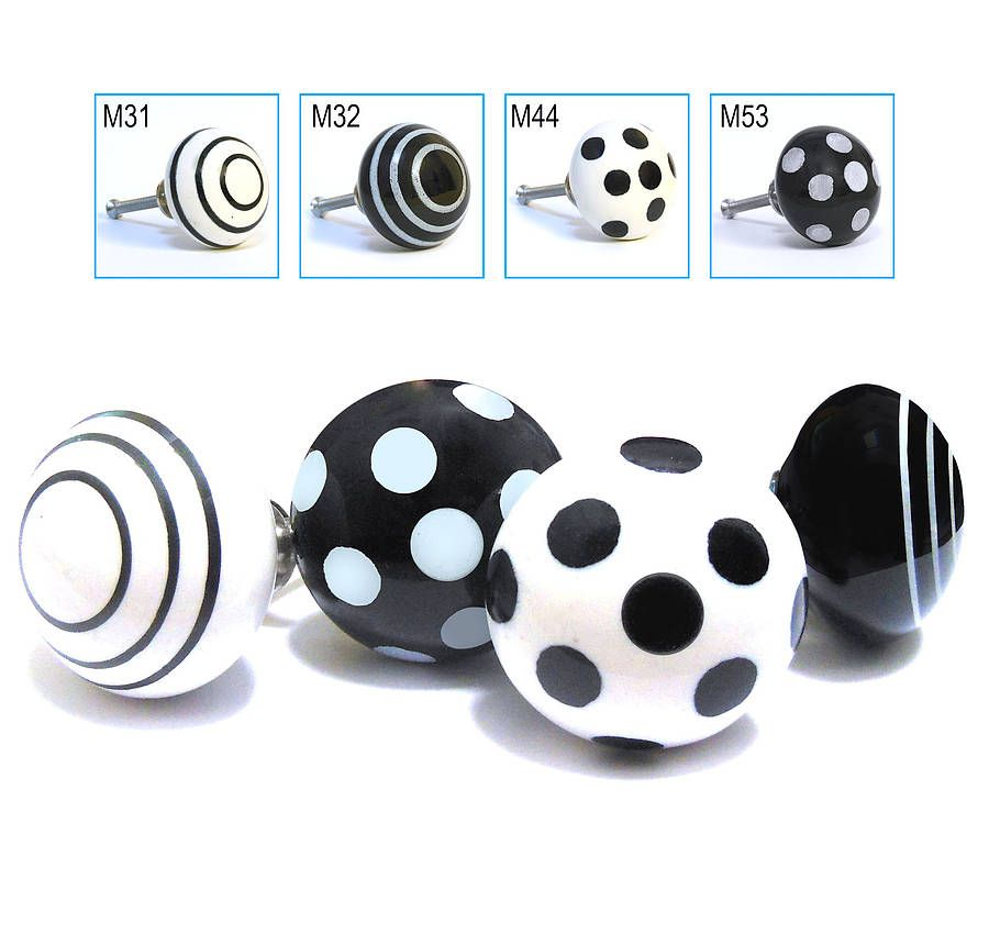 Black White Polka Dot Spotted Striped Cupboard Knobs