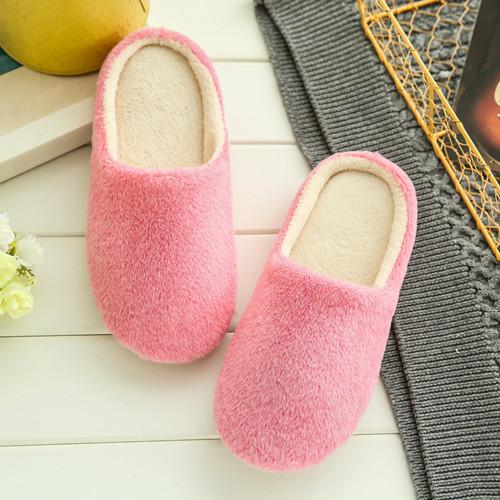 House Slipper Indoor Slippers Winter Warm Slippers Comfort Plush Cotton Slippers Pink