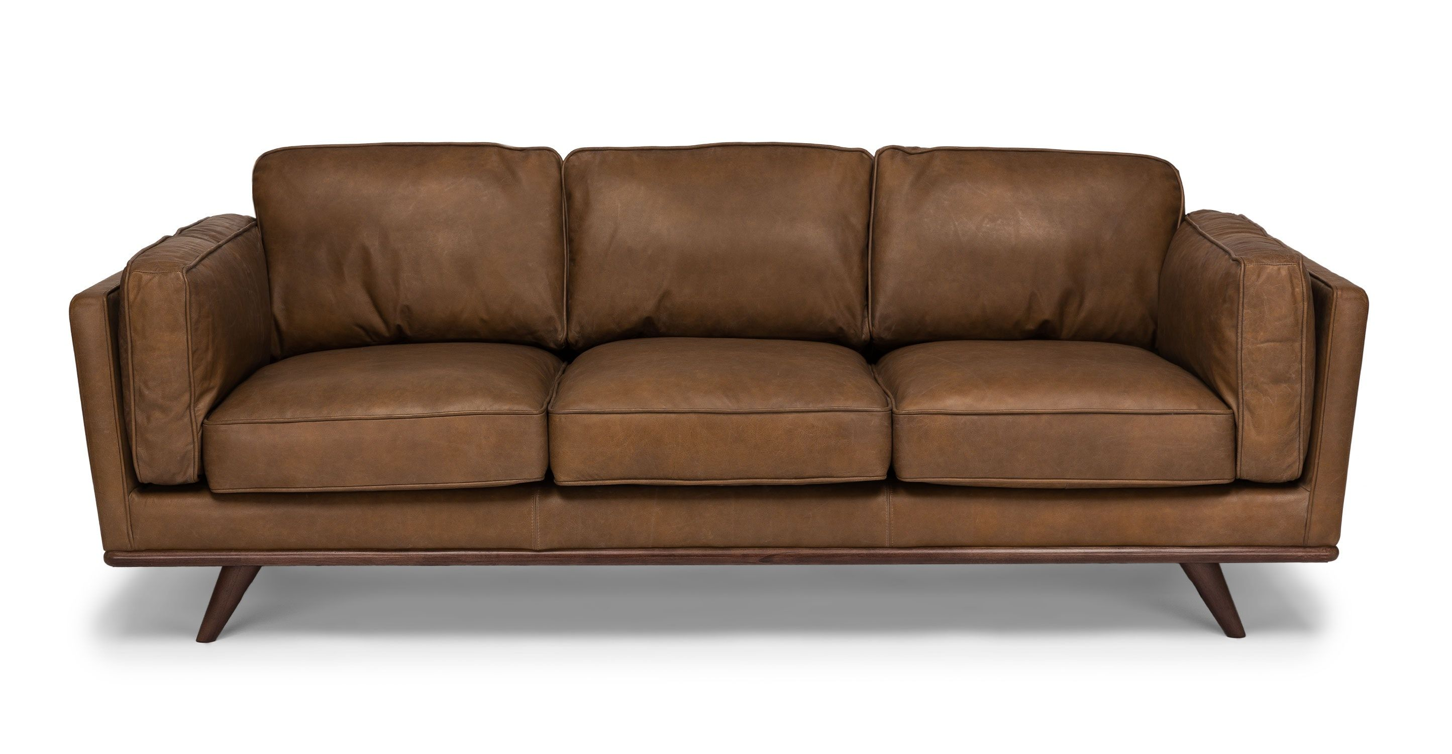Small Sectional Sofa Tan Brown Leather Sofa Seater Article Timber Mid Century Modern Furniture