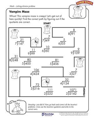 Vampire Maze Free Division Worksheet For Kids 4th Grade Math Math Worksheets