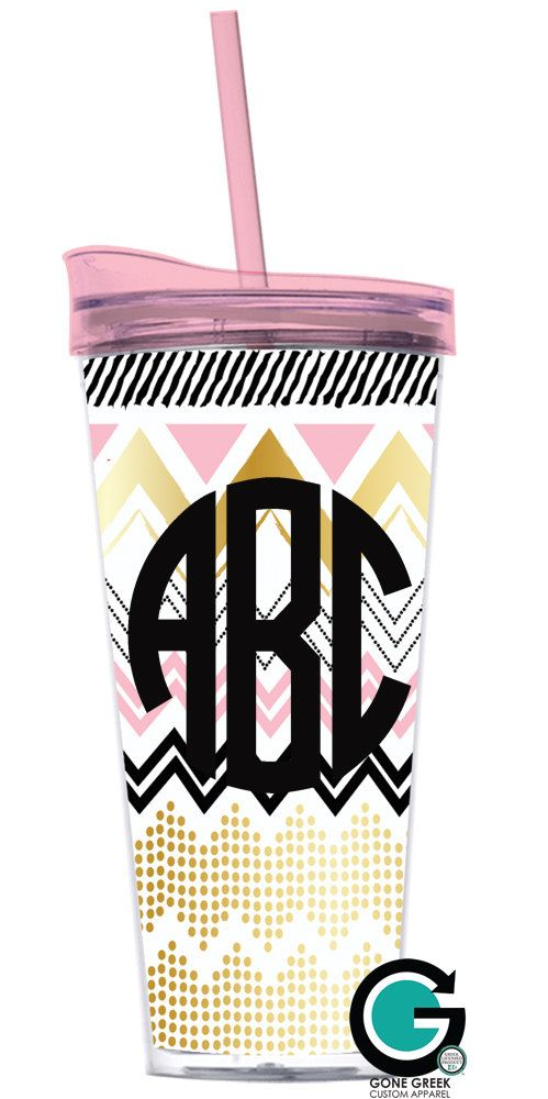 CUSTOM Monogram or Greek Letter (Sorority or Fraternity) Double Wall Tumbler with Straw by GoneGreek on Etsy
