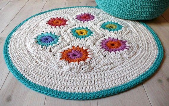 Rug Crochet hexagon por lacasadecoto en Etsy