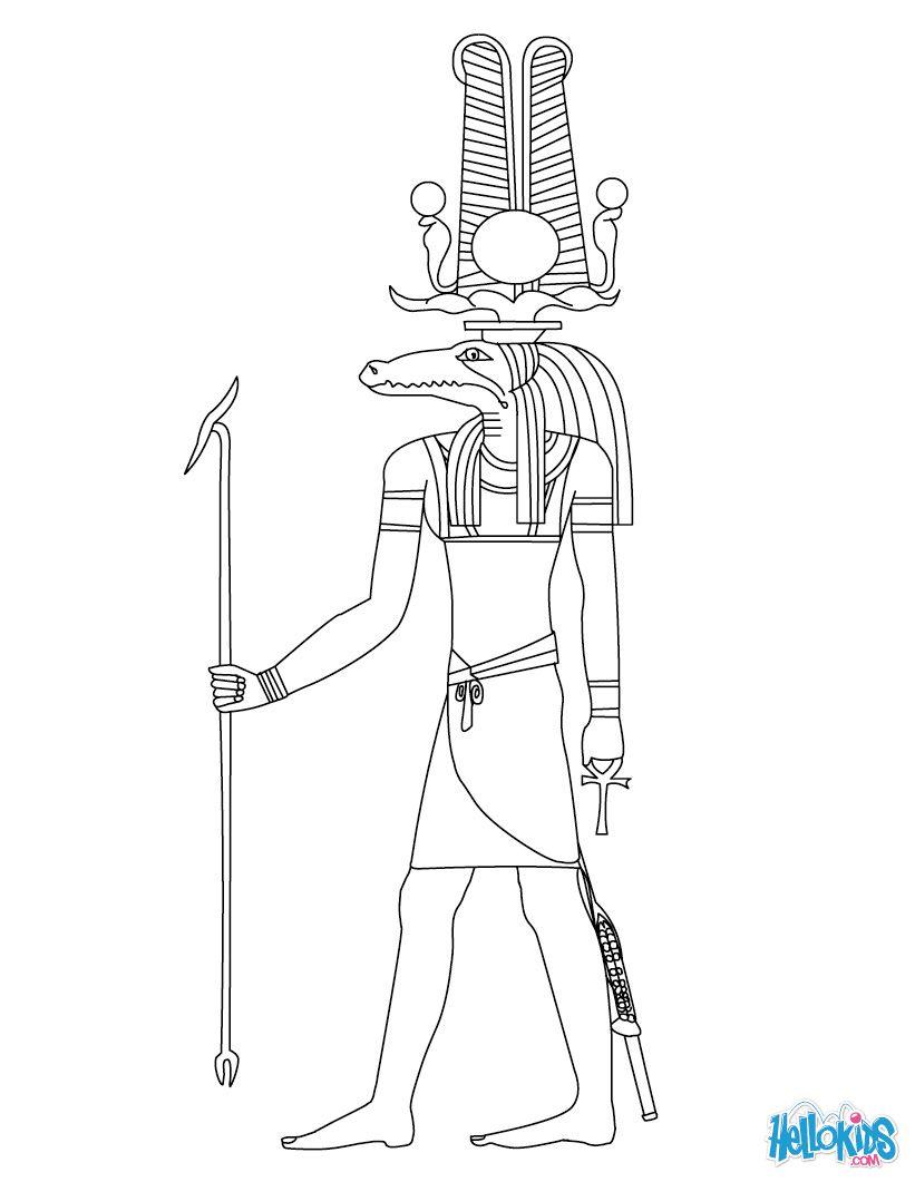 Sobek Egyptian goddess & gods Coloring Page | Egypt | Pinterest ...