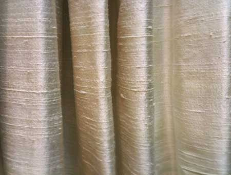 Raw Silk Curtains In Cream With Large White Panels At