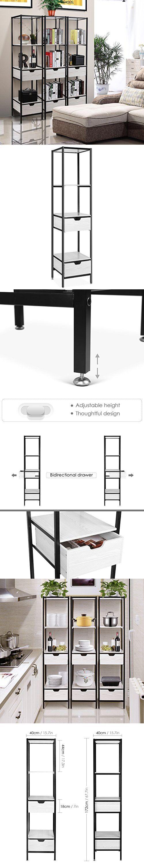 HOMFA Living Room Free Standing Shelves, 4-Tier Storage Shelf ...