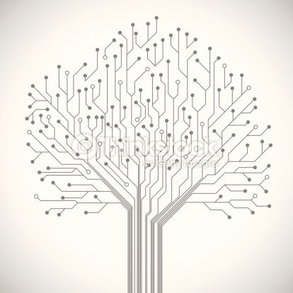 Abstract computer technology integrated circuit board tree