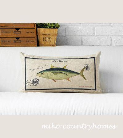 "Throw Pillow Cover | Vintage Fish Illustration | Decorative Burlap Pillow Cover | 30x50cm 12""x20"" | Modern Rustic Home Décor"