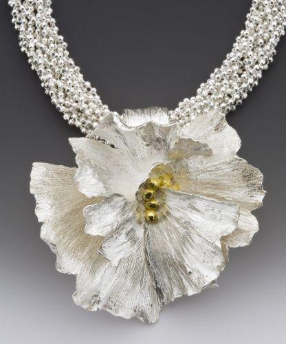 Lynn Cobb Fine silver Precious Metal Clay flower with 22 karat