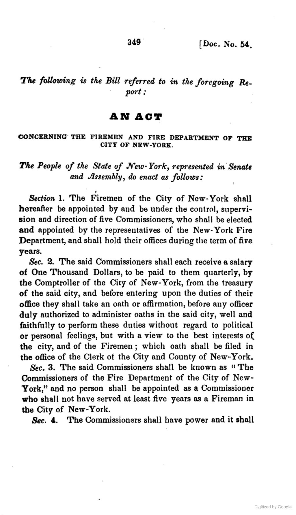 """An Act Concerning The Firemen And Fire Department Of The"