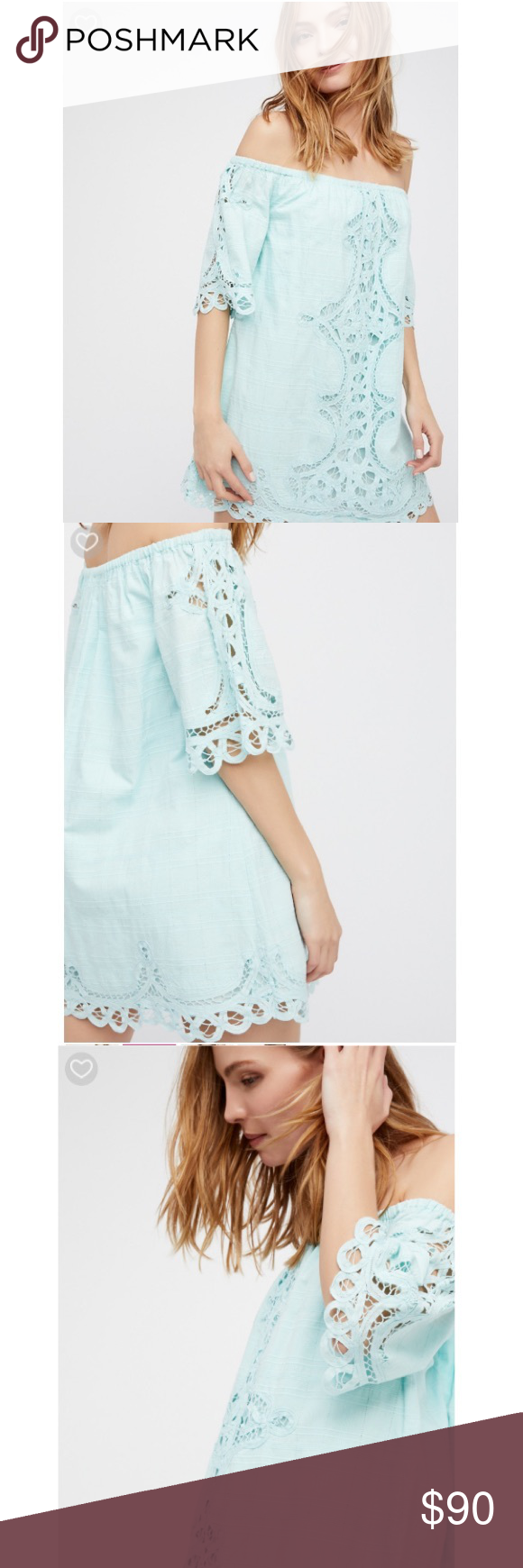 713c167331f087 Free People Battenburg Off-The-Shoulder Mini Dress      Please ask me for  your size if it is not listed!! I also have this in white and in pink       So ...