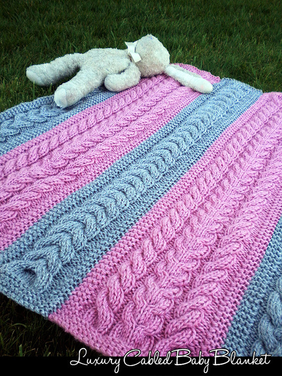 Knitting pattern for Luxury Cabled Baby Blanket - #ad Designer says ...