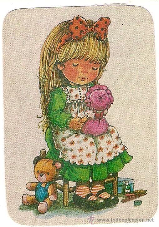 53326 Calendario Dibujo Nina Jugando Con Muneca Ano 1984 Ilustracion Mary May Extranjero Papel Calendarios Ilustracoes Meninas Desenhos