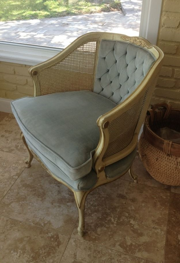 Vintage Blue Velvet Hollywood Regency Cane Chair French Provincial