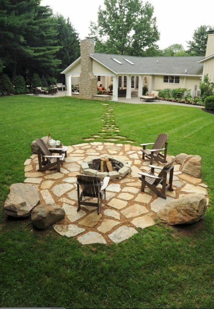 Setzen Wir Uns Neben Die Feuerstelle Im Garten Hin Natur Und