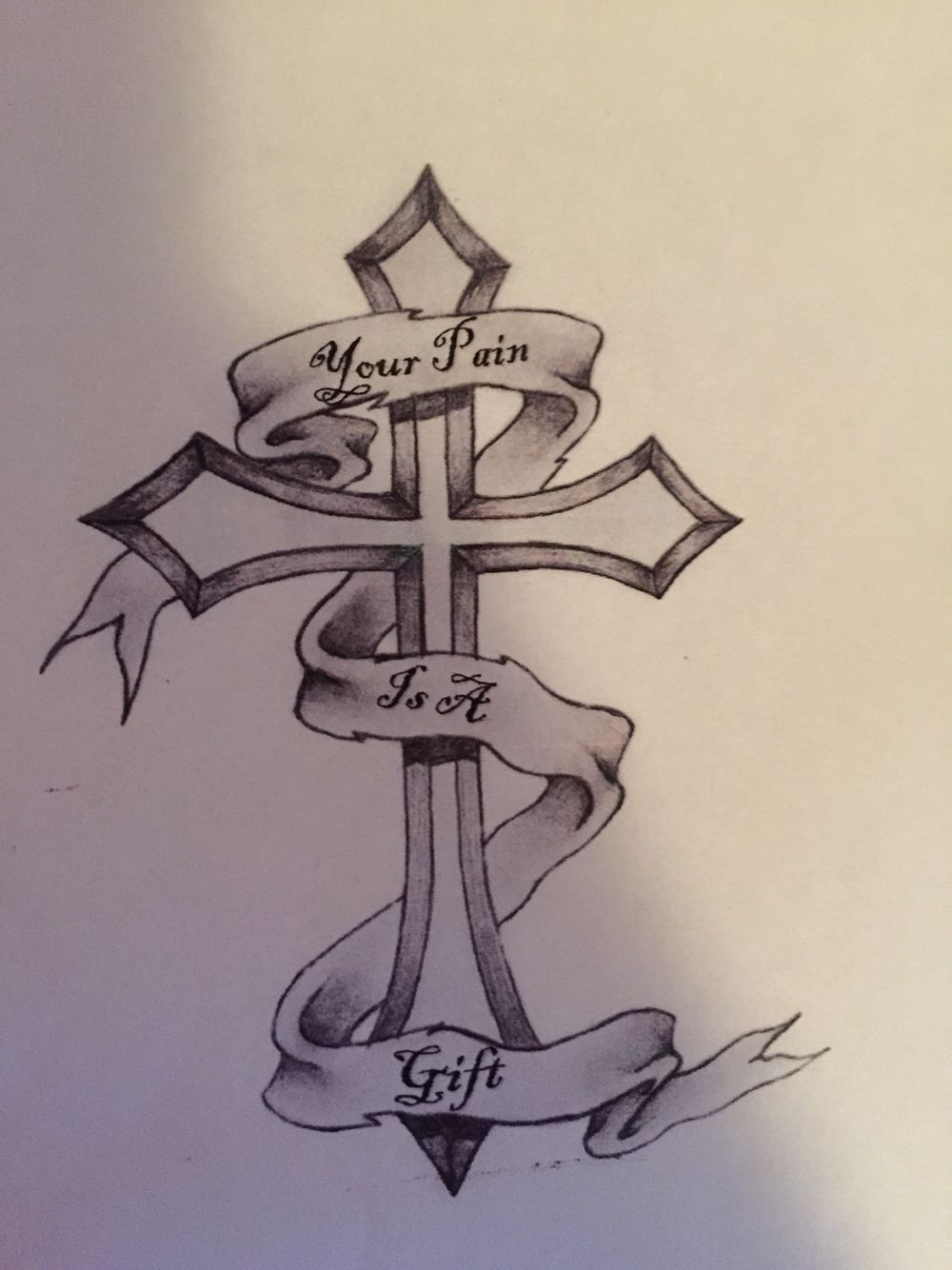 male tattoo cross banner your pain is a gift tattoos rh pinterest co uk Celtic Cross with Banner Tattoo A Banner with a Heart and Cross Tattoo